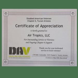 Air Tropics LLC, Certificate, Appreciation, Veterans, Service